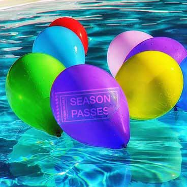 pool season passes balloons in water